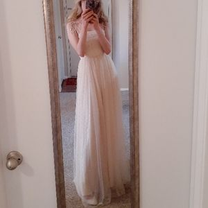 Forever 21 nude tulle gown with silver rhinestones